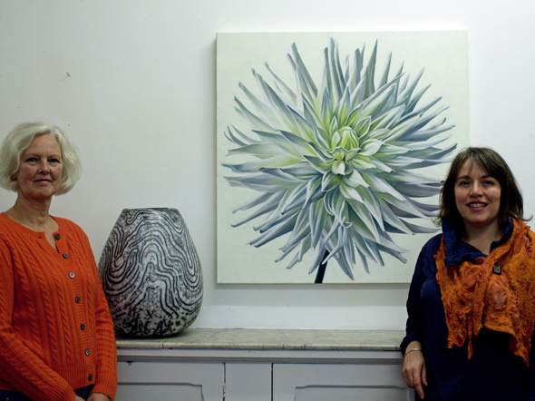 Moyra Stewart and Kirsty Lorenz with their artworks