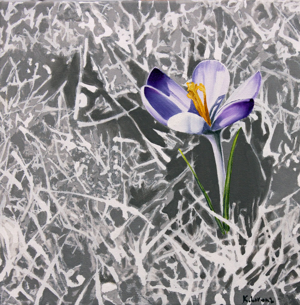 Crocus painting by Kirsty Lorenz, size 30x30cm, Acrylic and Oils on Canvas