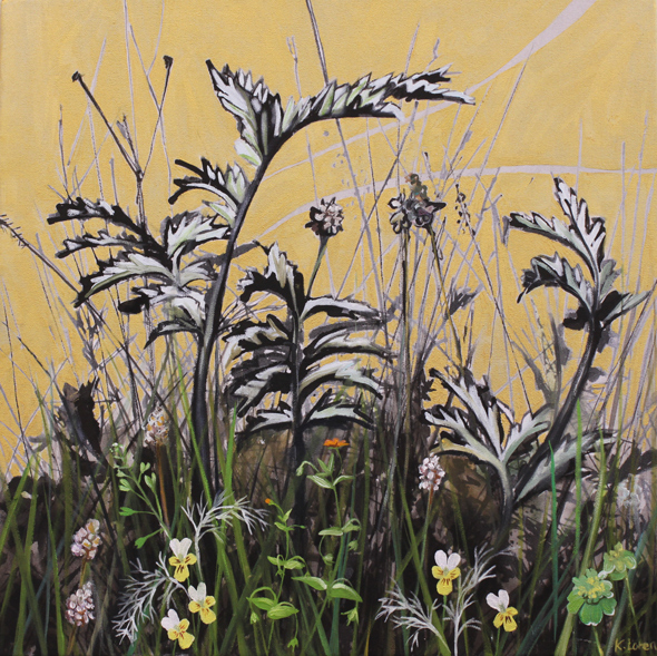Silverweed and wild flowers painting by Kirsty Lorenz