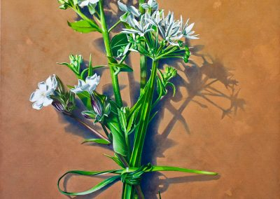 3 Votive Offering No 82 - Wild Garlic on Copper, oil on linen, 110x110cm