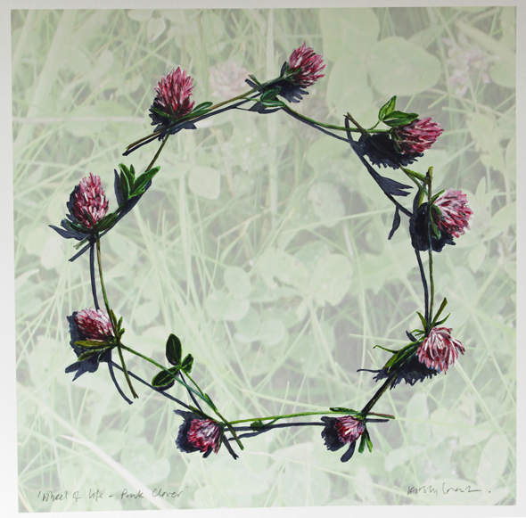 Painting of a chain of Pink Clover Flowers by Kirsty Lorenz
