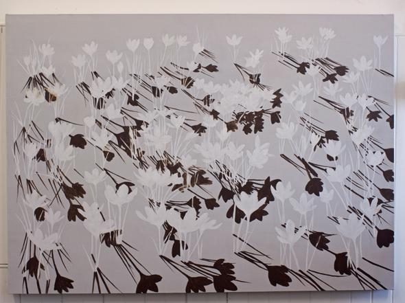 Crocus painting in progress by Kirsty Lorenz