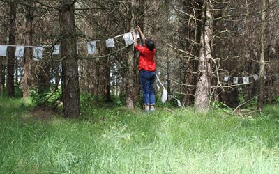Prayer installation in the Woods