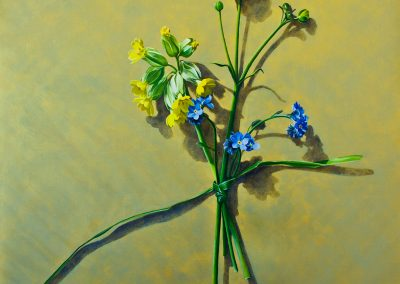 1 Votive Offering No 83 - Cowslip on Gold, oil on linen, 110x110cm