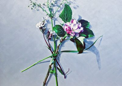2 Votive Offering No 81 - Apple Blossom on Silver, oil on linen, 110x110cm