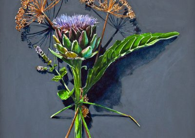 Votive Offering No.100 – Artichoke with Dill and Mint, 50x50cm