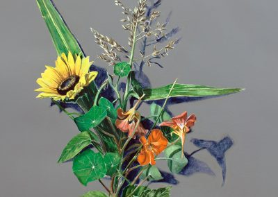 Votive Offering No.95 – Corn with Sunflower and Nasturtium, 50x45cm